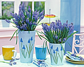 Muscari carrot in vases painted with muscari