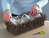 Cover woodchip basket with birch rice