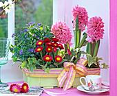 Spoke basket with myosotis (forget-me-not), hedera (ivy), bellis