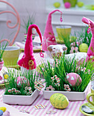 Easter grass in rectangular bowls