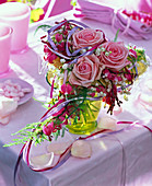Heart shaped bouquet of roses, dicentra (bleeding heart)