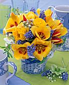 Bouquet of Tulipa, Myosotis, Gypsophila