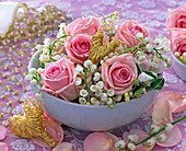 Pink (Rose), Convallaria (Lily of the Valley), Malus (Apple) blossom