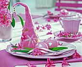Fuchsia Hyacinthus (hyacinth) on pink