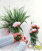 Barley and peonies stems as a standing bouquet