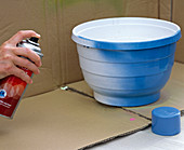 Planting blue sprayed hanging basket pot