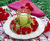 Pink (rose), alchemilla (lady's mantle) flower wreath
