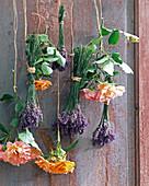 Bouquets with pink (rose), orange, lavandula (lavender)