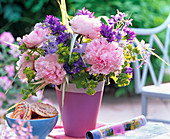 Bouquet from Paeonia Rosa, Campanula