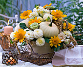 Arrangement with white Dahlia, Helianthus, Cucurbita