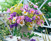 Bouquet with leucanthemum (marguerite), campanula (bellflower)