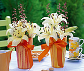 Light yellow Lilium (lily), Heuchera (purple bell) flowers