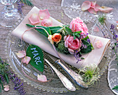Rose, seedling of Clematis, Lavandula