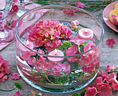 Hydrangea (Hydrangea), Anethum (Dill), Pink Floating Candles