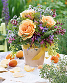 Herbal bouquet with Rose, anethum, salvia, borago