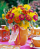 Late summer bouquet with Zinnia, Heliopsis, Briza