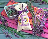 Lavandula, dried in bowl and fresh, fragrance bag