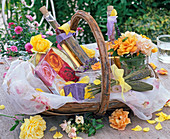 Gift basket with Rose, lavandula, lavender vinegar