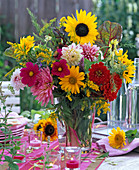Late summer bouquet with Helianthus (sunflower), Cosmos