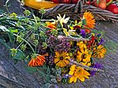 Late summer bouquet with helenium, calendula