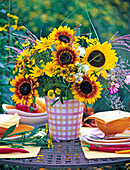 Late summer bouquet with Helianthus, Helenium