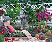 Patio with a Mediterranean ambience, basket couch