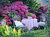 Nostalgic seating on the lawn at the hydrangea bed
