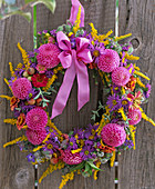 Wreath from Dahlia, Aster, Solidago