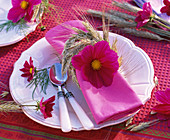 Napkin decoration for Thanksgiving with Cosmos, Hordeum