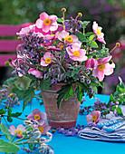 Autumnal bouquet with anemone and borago (borage)