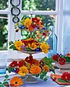 Etagere with edible flowers