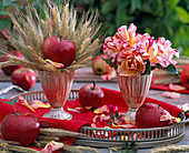 Thanksgiving with roses, apples and cereals