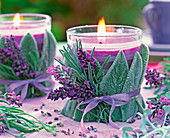 Candle jars with lavender and Wollziest
