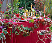 Autumn, table decoration, grapes, wine grapes