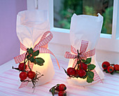Rose on lanterns in sandwich bags on the windowsill