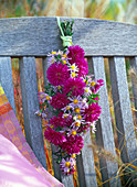 Hanging bouquet of different aster on back of wooden chair