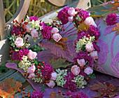 Heart-shaped wreath of Rose, aster, hydrangea