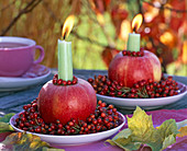 Wreaths of pink to Malus as candlesticks, autumn leaves