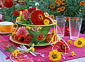 Zinnia flowers on etagere and on table with red tablecloth