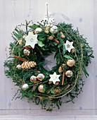 Door wreath from Hedera, Cryptomeria, Chamaecyparis