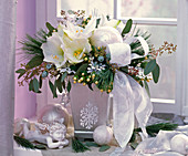 Bouquet of Hippeastrum 'Mont Blanc', Pinus, Eucalyptus