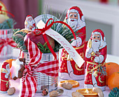 Chocolate Santa Claus, Tin with Pinus, Malus, Abies