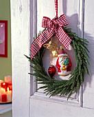 Door wreath from Cryptomeria (sickle fir)