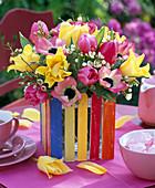 Bouquet of Tulipa, Anemone coronaria, Waxflower