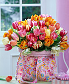 Tulipa (tulip) bouquet in patterned bag, boxes