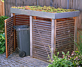 Dustbin box with roof greening