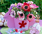 Bouquet made of anemone coronaria (crown anemone) in Easter decoration