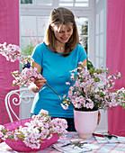 Spring bouquet of ornamental cherries stuck -