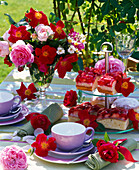 Table decoration with simple and blooming rose in bowl
