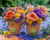 Small bouquets of Rose, phlox, borago